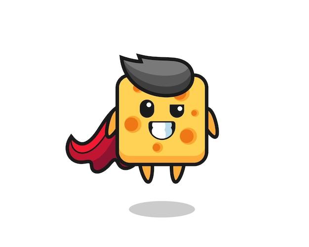 O personagem de queijo fofo como um super-herói voador, design de estilo fofo para camiseta, adesivo, elemento de logotipo