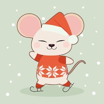 O personagem de rato bonitinho jogando patins no gelo