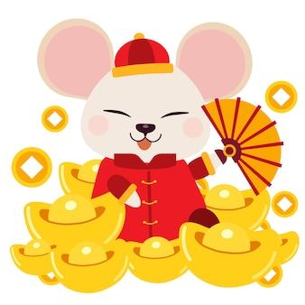 O personagem de rato bonitinho sentado na pilha de ouro chinês.