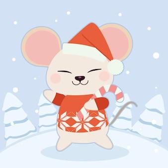 O personagem de rato bonitinho usa um chapéu de inverno e um suéter vermelho