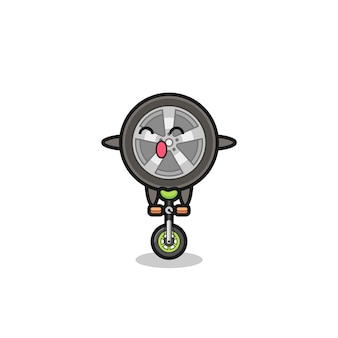 O personagem de roda de carro fofo está andando de bicicleta de circo, design de estilo fofo para camiseta, adesivo, elemento de logotipo