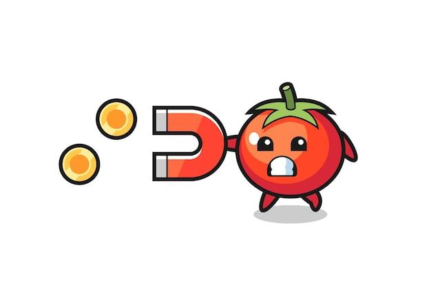 O personagem de tomate segura um ímã para pegar as moedas de ouro, design de estilo fofo para camiseta, adesivo, elemento de logotipo