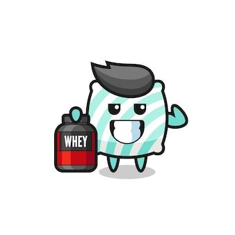 O personagem de travesseiro musculoso está segurando um suplemento de proteína, design de estilo fofo para camiseta, adesivo, elemento de logotipo