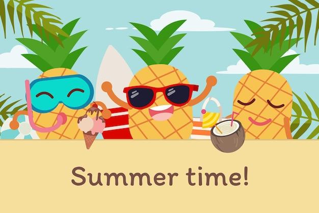 O personagem de um bonito applepine com tema de verão