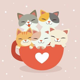 O personagem de um gato fofo e amigos na xícara grande