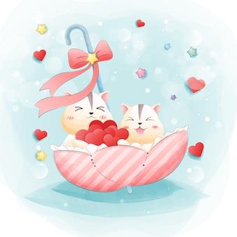O personagem de um hamster bonito com o coração e o amor.