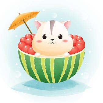 O personagem de um hamster bonito e melancia no estilo aquarela de horário de verão.
