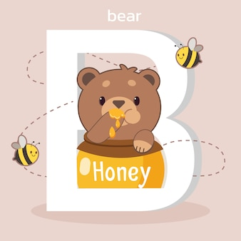 O personagem de urso fofo sentado no pote de mel e a fonte de b com abelha.
