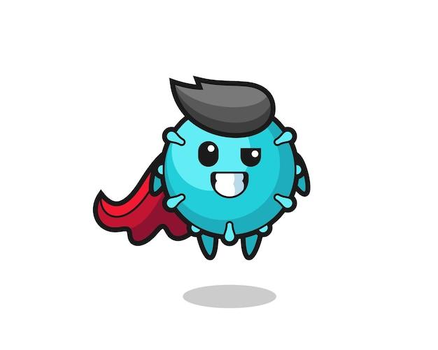 O personagem de vírus fofo como um super-herói voador, design de estilo fofo para camiseta, adesivo, elemento de logotipo