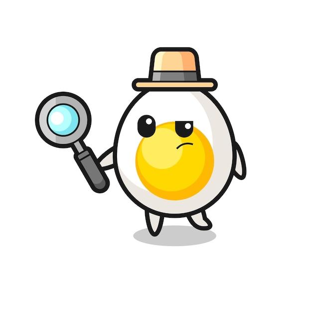 O personagem detetive de ovo cozido está analisando um caso, design de estilo fofo para camiseta, adesivo, elemento de logotipo