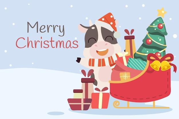 O personagem do boneco de neve fofo com o trenó do papai noel, árvore de natal e caixa de presente