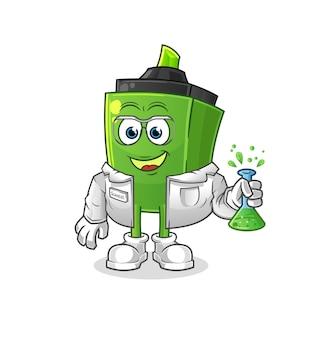O personagem do cientista marcador. mascote dos desenhos animados