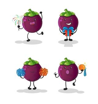 O personagem do conjunto de celebração do mangostão. mascote dos desenhos animados