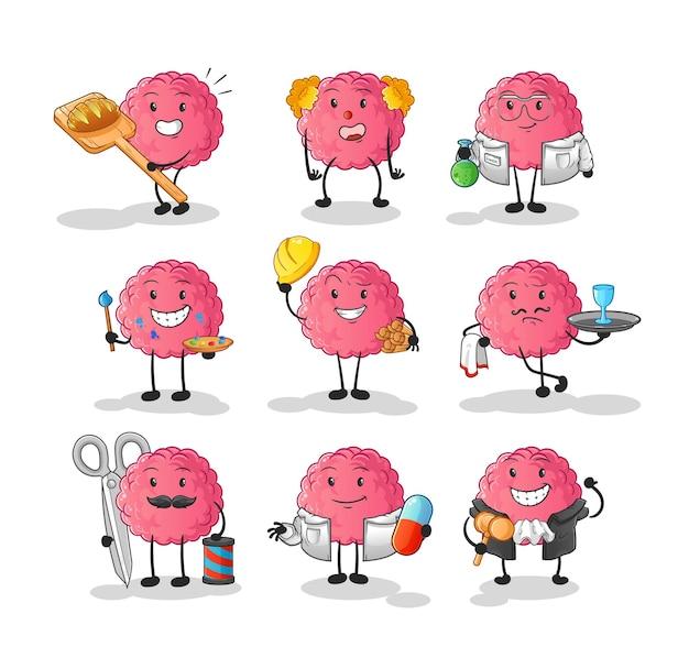 O personagem do conjunto de profissão do cérebro. mascote dos desenhos animados