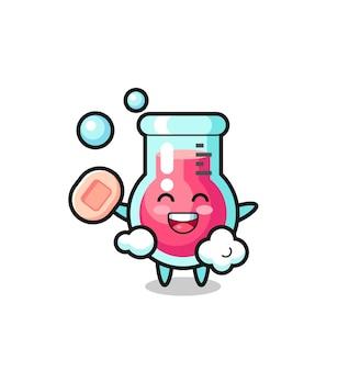 O personagem do copo de laboratório está tomando banho enquanto segura o sabonete, design de estilo fofo para camiseta, adesivo, elemento de logotipo
