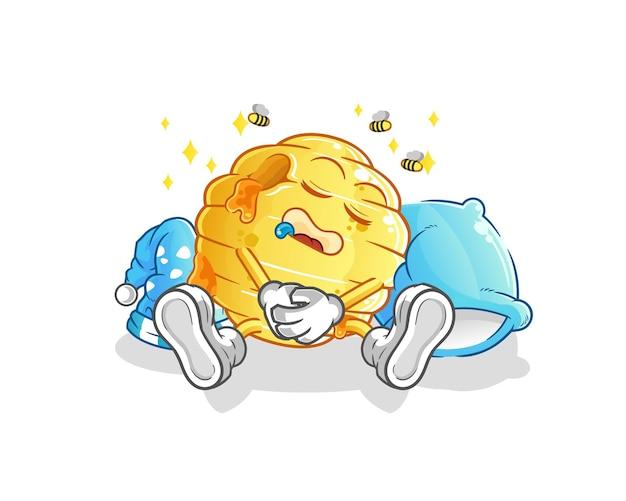 O personagem do favo de mel dormindo. mascote dos desenhos animados