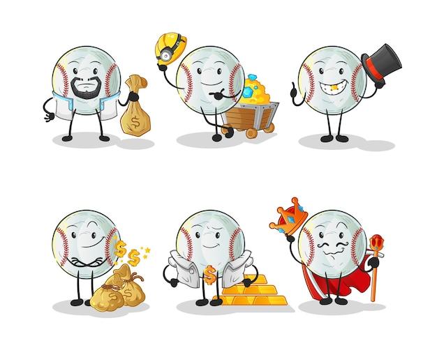 O personagem do grupo rico em beisebol. mascote dos desenhos animados