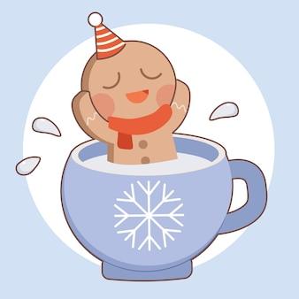 O personagem do homem bonito biscoito relaxante no copo de leite sobre o fundo azul.
