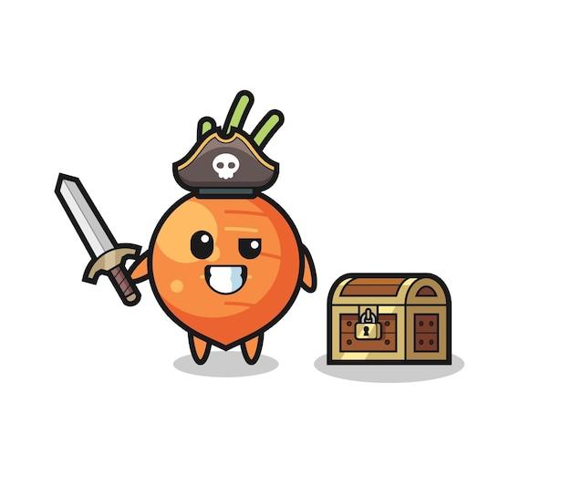 O personagem do pirata de cenoura segurando uma espada ao lado de uma caixa de tesouro, design de estilo fofo para camiseta, adesivo, elemento de logotipo