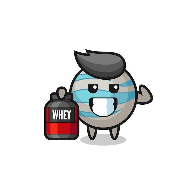 O personagem do planeta musculoso está segurando um suplemento de proteína, design de estilo fofo para camiseta, adesivo, elemento de logotipo