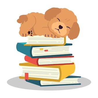 O personagem do poodle fofo na pilha do livro o cachorro fofo com o conceito de educação