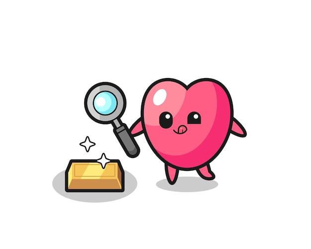 O personagem do símbolo do coração está verificando a autenticidade do ouro, design de estilo fofo para camiseta, adesivo, elemento de logotipo
