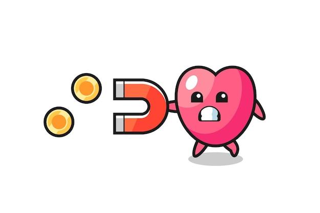 O personagem do símbolo do coração segura um ímã para pegar as moedas de ouro, design de estilo fofo para camiseta, adesivo, elemento de logotipo