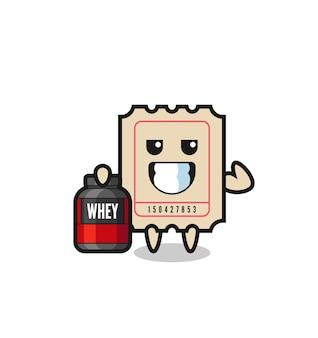 O personagem do tíquete muscular está segurando um suplemento de proteína, design de estilo fofo para camiseta, adesivo, elemento de logotipo