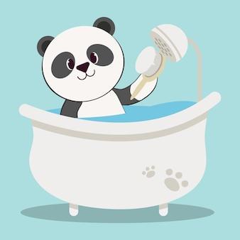 O personagem do urso panda fofo no tubo e na escova