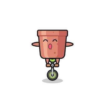 O personagem do vaso de flores está andando em uma bicicleta de circo, design de estilo fofo para camiseta, adesivo, elemento de logotipo