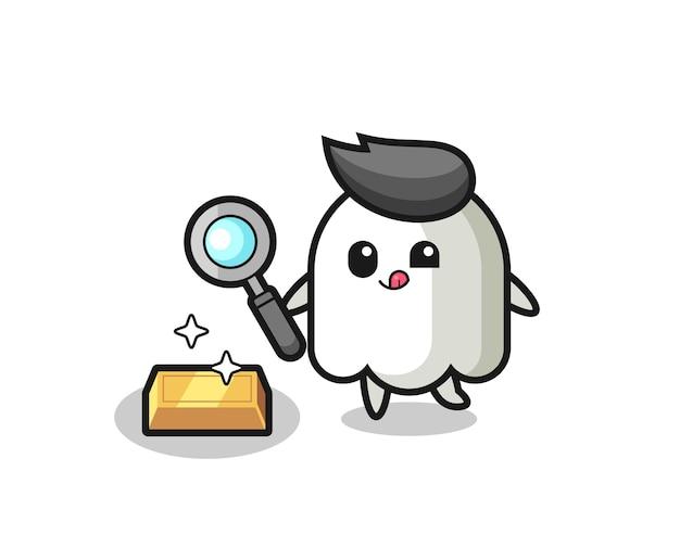 O personagem fantasma está verificando a autenticidade do ouro, design de estilo fofo para camiseta, adesivo, elemento de logotipo
