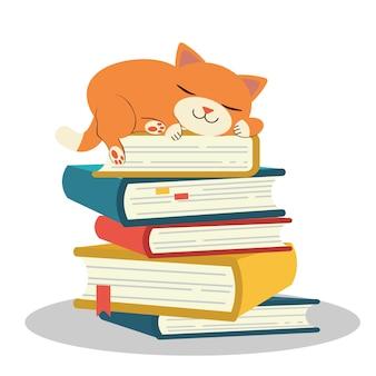 O personagem fofo de gato dormindo na pilha de livro
