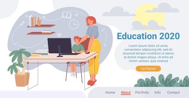 O personagem infantil chartoon senta-se à mesa do computador e estuda com a ajuda da mãe ou do professor