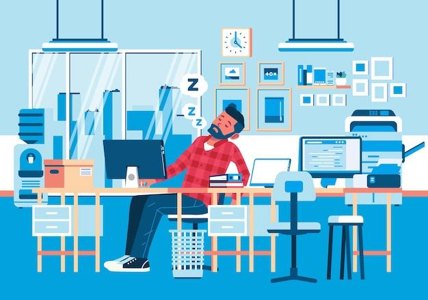 O personagem jovem dormiu demais no escritório devido ao cansaço ao trabalhar horas extras