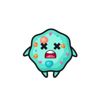 O personagem mascote da ameba morta, design de estilo fofo para camiseta, adesivo, elemento de logotipo