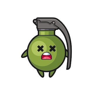 O personagem mascote da granada morta, design de estilo fofo para camiseta, adesivo, elemento de logotipo