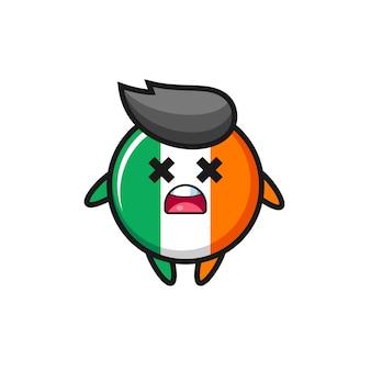 O personagem mascote do emblema da bandeira da irlanda morto, design de estilo fofo para camiseta, adesivo, elemento de logotipo