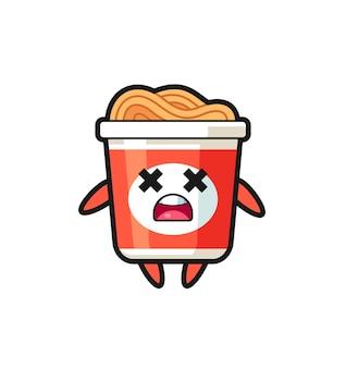 O personagem mascote do macarrão instantâneo morto, design de estilo fofo para camiseta, adesivo, elemento de logotipo