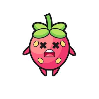 O personagem mascote do morango morto, design de estilo fofo para camiseta, adesivo, elemento de logotipo