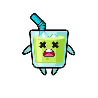 O personagem mascote do suco de melão morto, design de estilo fofo para camiseta, adesivo, elemento de logotipo