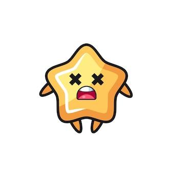 O personagem mascote estrela morta, design de estilo fofo para camiseta, adesivo, elemento de logotipo
