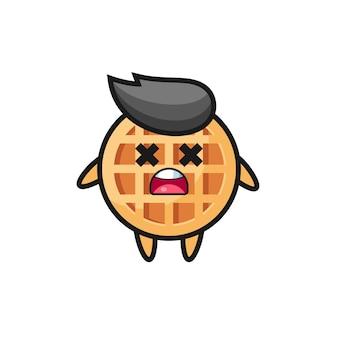 O personagem mascote waffle do círculo morto, design fofo