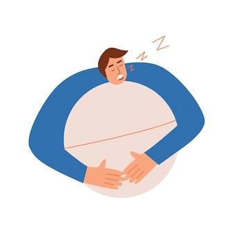 O personagem masculino dorme com um comprimido para a insônia. ilustração vetorial em estilo simples