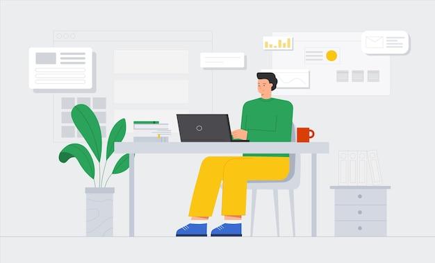 O personagem masculino está trabalhando em seu laptop.