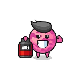 O personagem musculoso de colher de sorvete está segurando um suplemento de proteína, design de estilo fofo para camiseta, adesivo, elemento de logotipo