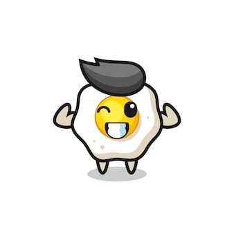 O personagem musculoso de ovo frito está posando mostrando seus músculos, design de estilo fofo para camiseta, adesivo, elemento de logotipo