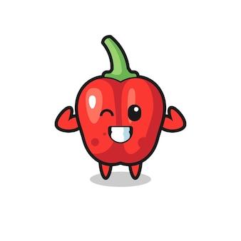 O personagem musculoso pimentão vermelho está posando mostrando seus músculos, design de estilo fofo para camiseta, adesivo, elemento de logotipo