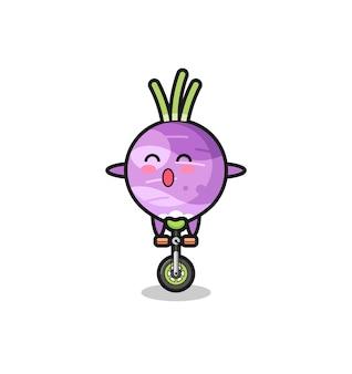 O personagem nabo fofo está andando de bicicleta de circo, design de estilo fofo para camiseta, adesivo, elemento de logotipo