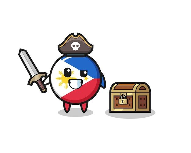 O personagem pirata com o emblema da bandeira das filipinas segurando uma espada ao lado de uma caixa de tesouro, design de estilo fofo para camiseta, adesivo, elemento de logotipo