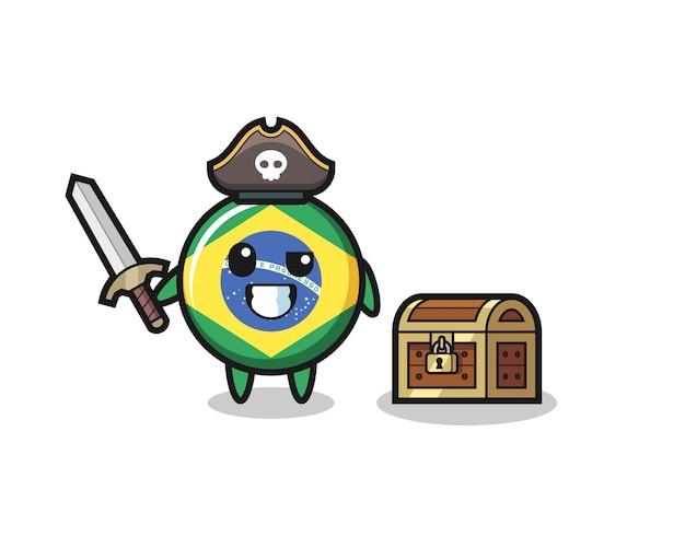 O personagem pirata com o emblema da bandeira do brasil segurando uma espada ao lado de uma caixa de tesouro, design de estilo fofo para camiseta, adesivo, elemento de logotipo